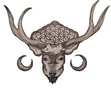 The Flower Of Life Deer by nach-o-kid