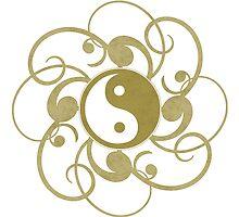 Gold Yin Yang Print by thepixelgarden