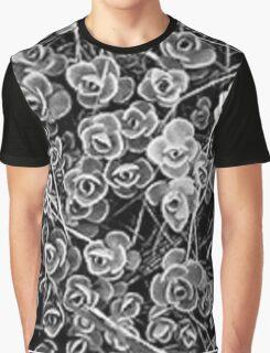 Black and White Designer Flowers Graphic T-Shirt