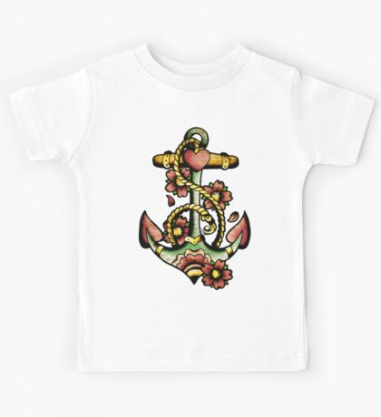 Traditional Anchor Tattoo Design Kids Tee