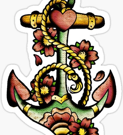 Traditional Anchor Tattoo Design Sticker
