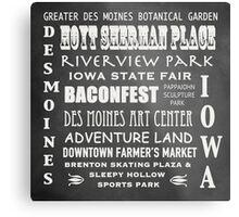 Des Moines Famous Landmarks Metal Print