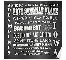 Des Moines Famous Landmarks Poster