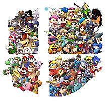 Super Smash Bros. WiiU and 3Ds + Ryu + Cloud Photographic Print