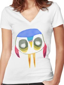 The Owl with No Eyes Women's Fitted V-Neck T-Shirt