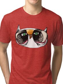 The Owl with Green Eyeballs Tri-blend T-Shirt