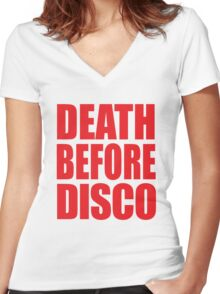Death Before Disco Women's Fitted V-Neck T-Shirt