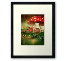 Creative cartoon mushrooms Framed Print