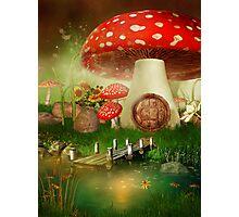 Creative cartoon mushrooms Photographic Print