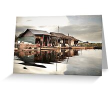 Sunset at Floating Village in Siam Reap Greeting Card