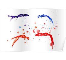 Watercolor Ninja Masks Poster