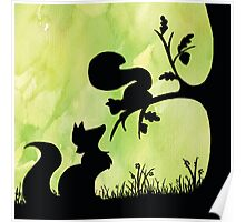 Woodland Shadows - Fox and Squirrel:Spring Poster