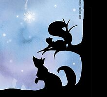 Woodland Shadows - Fox and Squirrel:Winter by artemissart