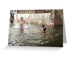 Children Swimming in River Greeting Card