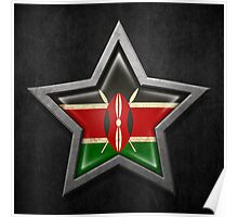 Kenyan Flag Inside of an Aged and Scratched Star Poster