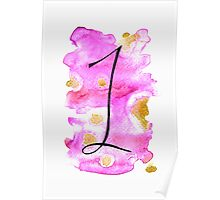 Number 1 Table Number - black on pinks with gold Poster