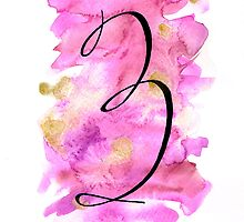 Number 3 Table Number - black on pinks with gold by BbArtworx