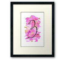 Number 3 Table Number - black on pinks with gold Framed Print