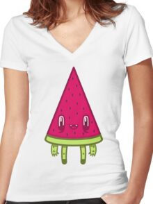Watermelon Slice Women's Fitted V-Neck T-Shirt