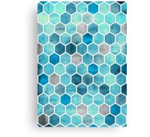 Blue Ink - Watercolor hexagon pattern Canvas Print