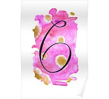 Number 6 Table Number - black on pinks with gold Poster