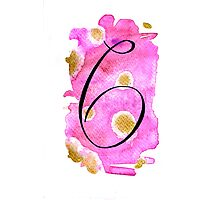 Number 6 Table Number - black on pinks with gold Photographic Print