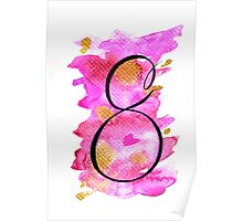 Number 8 Table Number - black on pinks with gold Poster