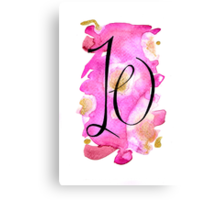 Number 10 Table Number - black on pinks with gold Canvas Print