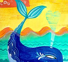 Where Whale You Be at Sunset? - Hand-painted Illustration by Marion Bouquet