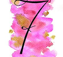 Number 7 Table Number - black on pinks with gold by BbArtworx