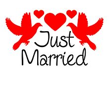 Just Married Dove Hearts Design by Style-O-Mat