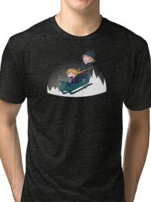 A Snowy Ride Tri-blend T-Shirt