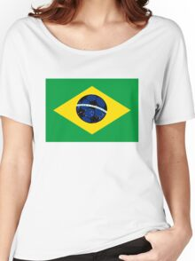 Brazilian flag and football Women's Relaxed Fit T-Shirt
