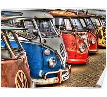 Campervan in a row Poster