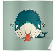 Little cat sitting down to dine on a huge whale Poster
