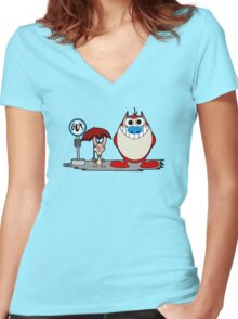 My Neighbor Stimpy Women's Fitted V-Neck T-Shirt