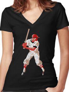Awaiting the pitch, retro baseball pop art Women's Fitted V-Neck T-Shirt