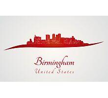 Birmingham AL skyline in red Photographic Print