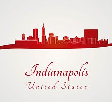 Indianapolis skyline in red by paulrommer