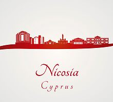Nicosia skyline in red by paulrommer