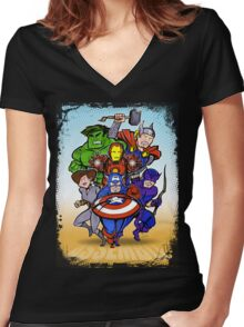Mighty Heroes Women's Fitted V-Neck T-Shirt
