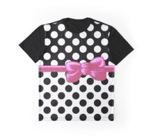 Ribbon, Bow, Polka Dots - Black White Pink Graphic T-Shirt