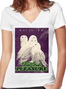 White Owl Edition - (Foolish Pleasure) Women's Fitted V-Neck T-Shirt