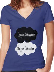 Oxygen Potassium Women's Fitted V-Neck T-Shirt