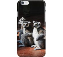 Monkeys holding on to each other iPhone Case/Skin