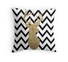 Gold Deer Chevron Throw Pillow