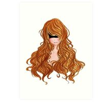 Abstract Anime Drawing Flowing hair BoHo Style Fashion  Art Print