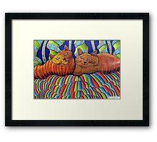 402 - STRIPY CATS  - DAVE EDWARDS - COLOURED PENCILS - 2014 Framed Print