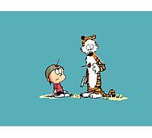 Calvin & Hobbes (dart war games edition) Photographic Print