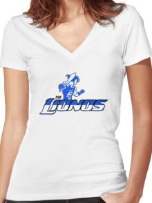 Detroit Lionos Women's Fitted V-Neck T-Shirt